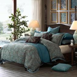 Luxury Blue & Brown Jacquard Paisley Comforter Set AND Decor