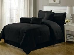 Luxury Comforter Set 7 Pcs Col. Hotel Dobby Stripe Bedroom B