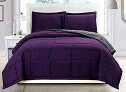 3 piece Luxury Dark Purple / Grey Reversible Goose Down Alte
