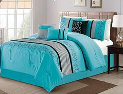Luxlen 7 Piece Luxury Embroidered Bed in Bag Comforter Set,