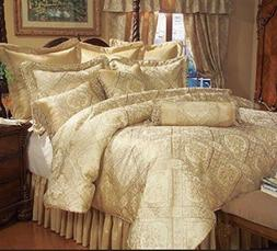Luxury Gold Jacquard 9 pcs Comforter Cal King  /King /Queen