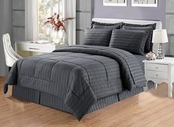 8 piece Luxury GREY Dobby Stripe Bed In A Bag Reversible Goo