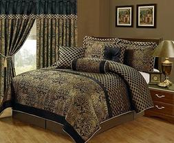 Luxury Jacquard Print 7-piece Floral Comforter Set, Black/Go