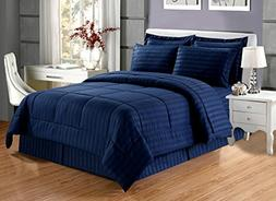 8 piece Luxury NAVY BLUE Dobby Stripe Bed In A Bag Reversibl