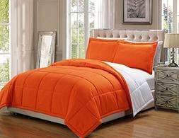 3 piece Luxury Orange / White Reversible Goose Down Alternat