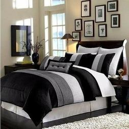 8-Piece Luxury Pintuck Pleated Stripe Black, Gray, and White