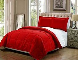 3 piece Luxury Red / White Reversible Goose Down Alternative
