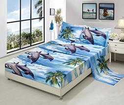 Bednlinens Luxury 4 Piece Sheet Set 3d Dolphins and Palm Tre