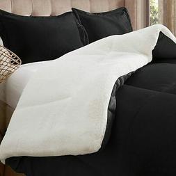 Luxury Solid Down Alternative Sherpa Comforter Set - Black -