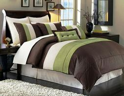 Luxury Stripe Full Size 8 Piece Black Grey and White Bedding