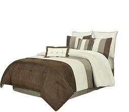Chezmoi Collection 8 Pieces Luxury Striped Comforter Set