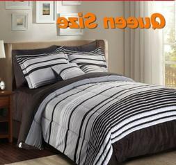 Luxury Striped Pattern Beautiful 10 Piece Comforter Set Quee