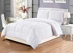 Grand Linen 3 piece Luxury WHITE Dobby Stripe Reversible Goo