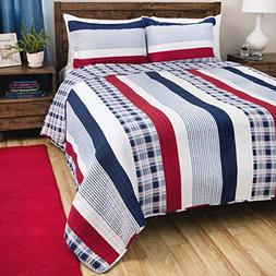 3 Piece Madras Blue Red White Striped Quilt Full Queen Set,