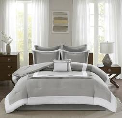 Comfort Spaces - Malcom Comforter Set - 7 Piece – Grey - Q