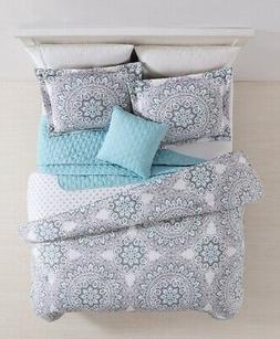 Malia Mint/Lanvender with Quilted Throw Comforter Set Twin/T