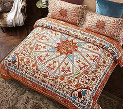Wake In Cloud - Mandala Comforter Set Queen, 3-Piece Reversi