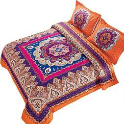 Wake In Cloud - Mandala Duvet Cover Set, Orange Bohemian Boh