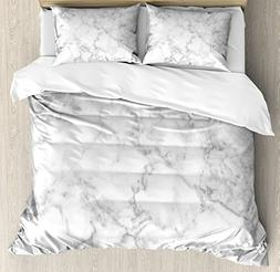 Ambesonne Marble Duvet Cover Set Queen Size, Nature Granite