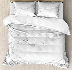 Ambesonne Marble Duvet Cover Set Queen Size, Artsy Mineral N
