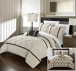 Chic Home 3 Piece Marcia Pinch Pleated Ruffled and Reversibl