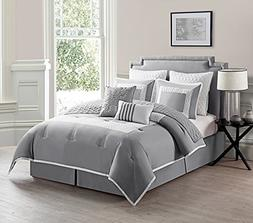 VCNY 9 Piece Marion Comforter Set, King, Gray