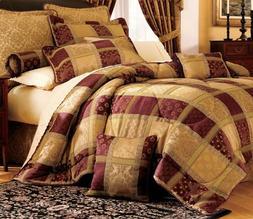 7 Piece Burgundy Jewel Patchwork Comforter Set Queen