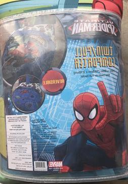 MARVEL ULTIMATE SPIDER-MAN Boys Twin/Full Bed COMFORTER Reve