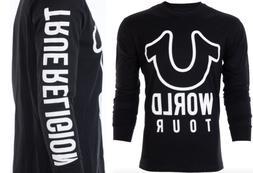 TRUE RELIGION Men LONG SLEEVE T-Shirt WORLD TOUR Black White