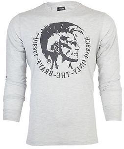 DIESEL Mens LONG SLEEVE T-Shirt ACHEL Mohawk HTHR GREY Casua