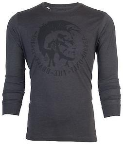 DIESEL Mens LONG SLEEVE T-Shirt ACHEL Mohawk CHARCOAL Casual