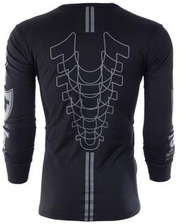 TRUE RELIGION Mens LONG SLEEVE T-Shirt MOTO PUFF Black Grey