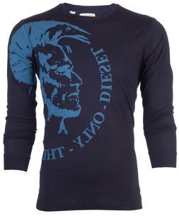 DIESEL Mens LONG SLEEVE T-Shirt TRIK Mohawk NAVY BLUE Casual