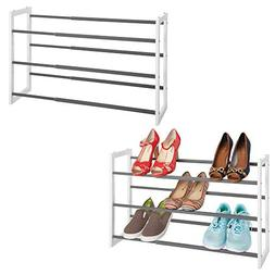 mDesign Metal 3 Tier Adjustable/Expandable Shoe and Boot Sto