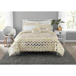 Metallic Gold Ikat Dot Design Coordinating Comforter Set