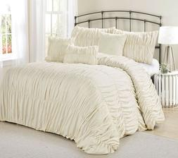 MH 7 Pieces Ruffled Comforter Set Ivory Color King Size