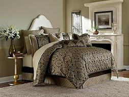 Michael Amini 9 Piece Imperial Comforter Set, Queen, Gold/Br