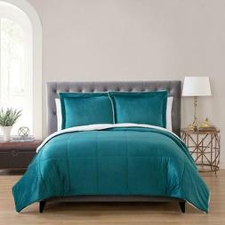 VCNY Home Micro Mink Reversible Sherpa 3 Piece Bedding Comfo