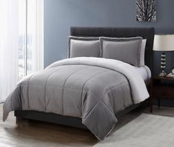 VCNY Home Micro Mink Reversible Sherpa Comforter Set, Twin,