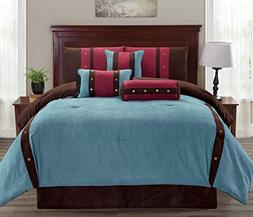 Legacy Decor 7 pc Micro Suede Teal, Brown and Burgundy Strip