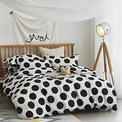 ZHIMIAN Bedding Reversible Spotty Print 3 Piece Duvet Cover