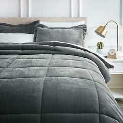 AmazonBasics Micromink Sherpa Comforter Set - Ultra-Soft, Fr