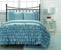 Miley 3 Piece Light Blue Chic Textured Comforter Set