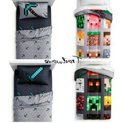MINECRAFT TWIN BEDDING Reversible Comforter w/ 3Pc Twin Shee