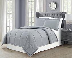 Mk Collection Down Alternative Comforter Set 3pc King, Grey