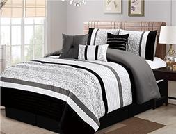Luxlen 7 Piece Modern  Bed / Comforter in a Bag, Cal King,