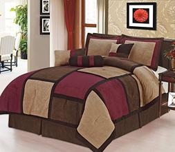 7 Pc Modern Beige Burgundy Brown Suede Comforter SET / BED i