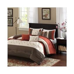 Modern Brown Orange Red Comforter Bedding Set with Shams and