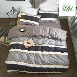 Soft Cotton Striped Duvet Cover Set King 3 Piece Modern Reve