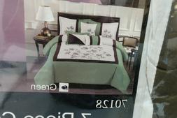 Modern 7 Piece OLIVIA Bedding Sage Green / White Emboidered